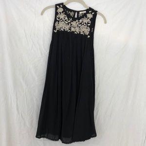 Black embroidered sleeveless dress